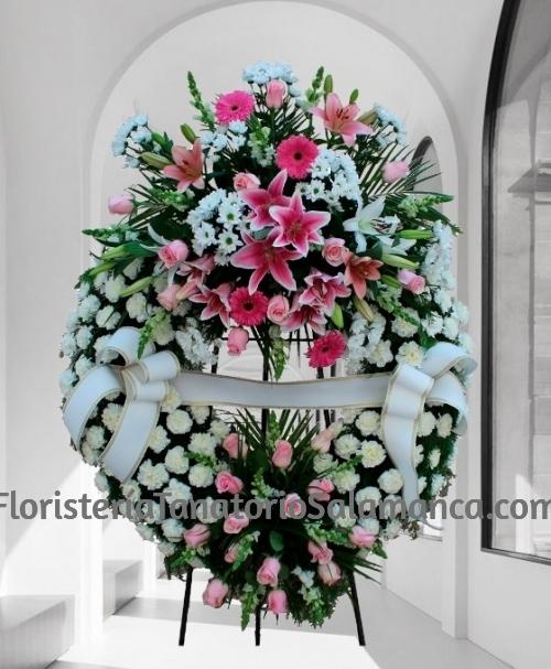 Corona para funeral blanca doble cabezal especial para tanatorios de Salamanca