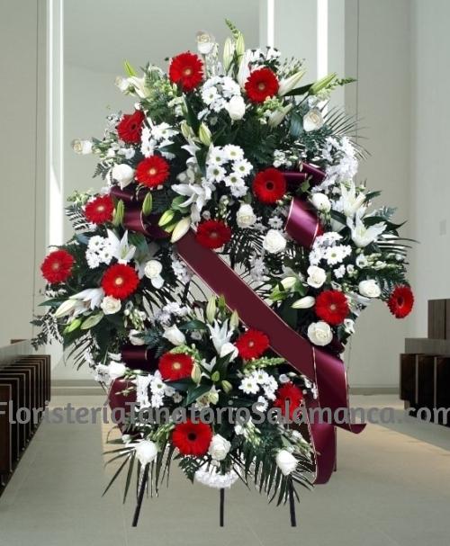 Corona funeraria flor variada para tanatorios de Salamanca