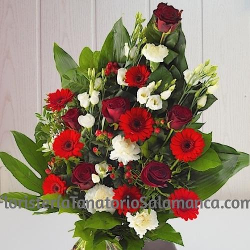 Ramo para difuntos rosas y lisianthus especial para tanatorios