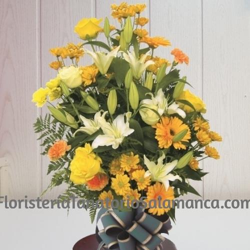 Ramo para funeral en tonos amarillos con envío urgente