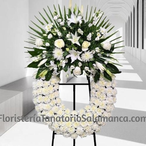 Corona Funeraria Blanca Clásica en Salamanca