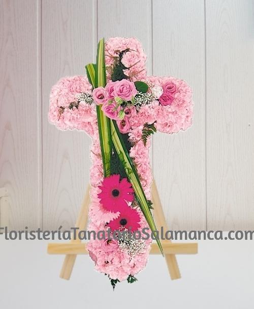 Cruz para difuntos clavel rosa especial para tanatorios de Salamanca