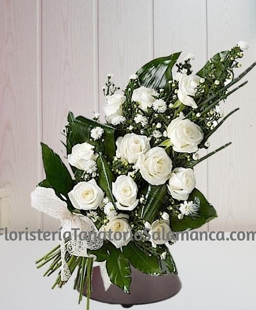 Ramo para funeral 12 rosas blancas con envío urgente